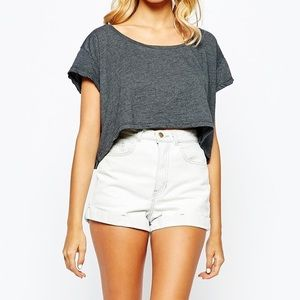 AMERICAN APPAREL High Waisted Denim Short White 28